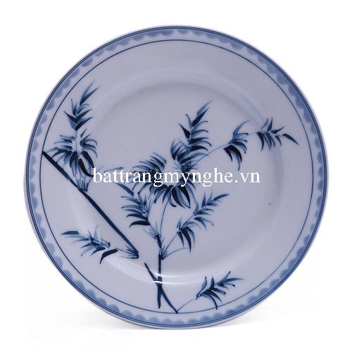 Đĩa đựng đồ ăn vẽ Trúc - men chàm - dáng đĩa bằng - đường kính 22 cm