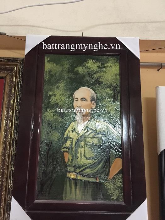 Tranh sứ chân dung chủ tịch Hồ Chí Minh men màu khổ 50x80