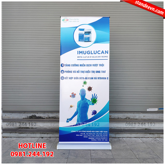standee cuốn đế to 1 mặt