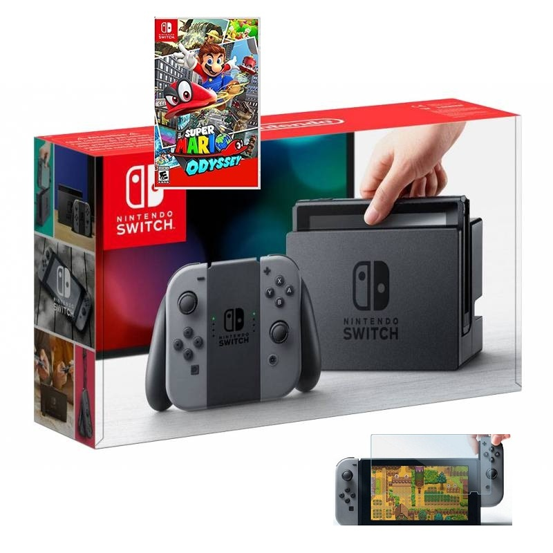 Switch with Gray Joy‑Con, game card Super Mario Odyssey