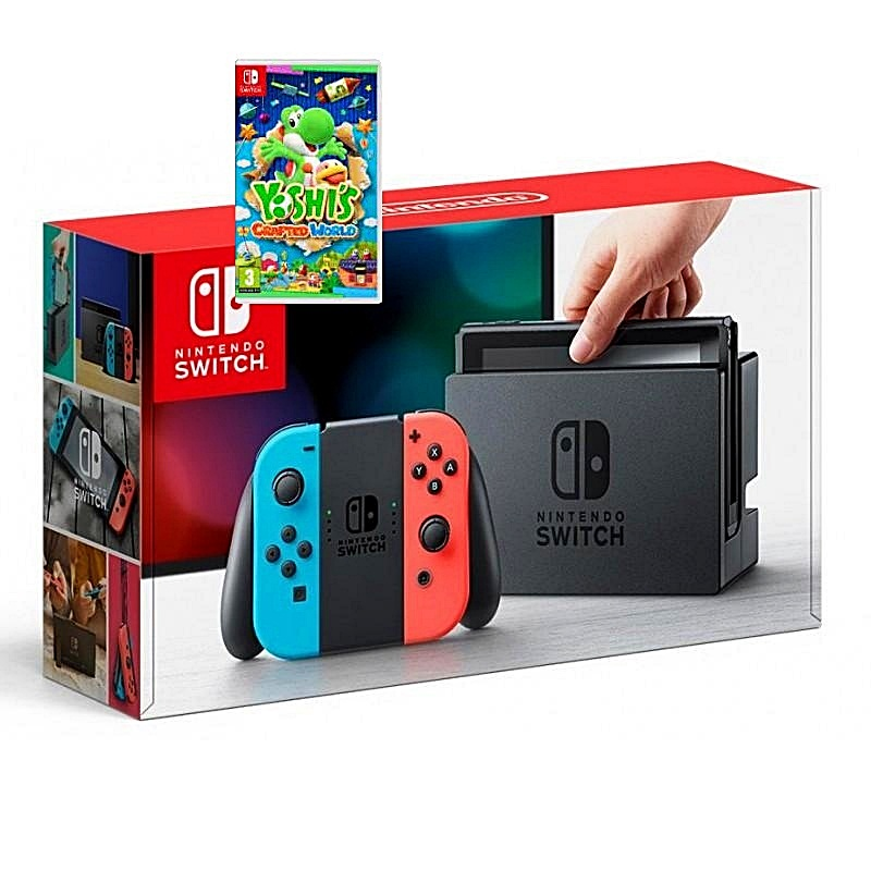 Switch Neon Joy‑Con, game Yoshi's Crafted World