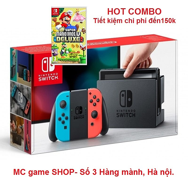 Switch Neon Joy‑Con, game New Super Mario Bros. U Deluxe--TẠM HẾT HÀNG