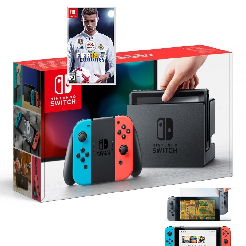 Switch with Neon Blue and Neon Red Joy‑Con, game FIFA 18--TẠM HẾT HÀNG