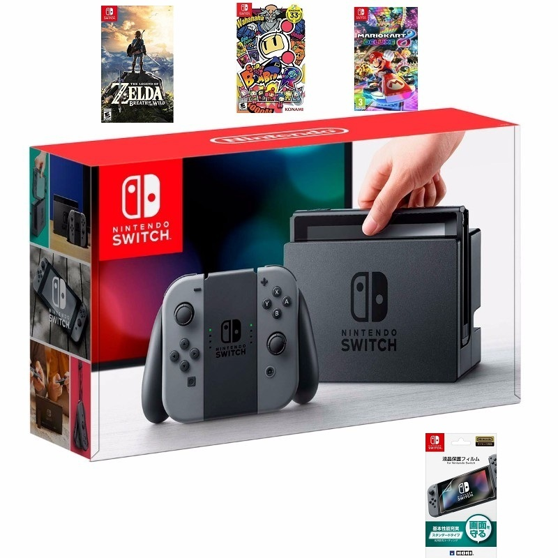 Nintendo Switch with Gray Joy‑Con, 3 games--HẾT HÀNG