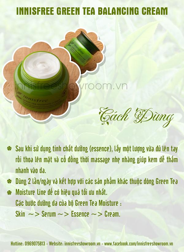 kem duong am cho da kho innisfree green tea moisture cream