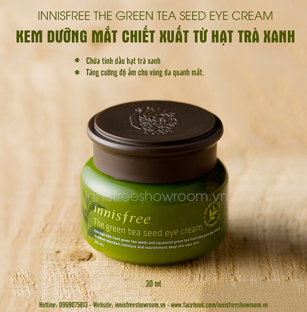 kem duong mat chiet xuat tu hat tra xanh innisfree the green tea seed eye cream