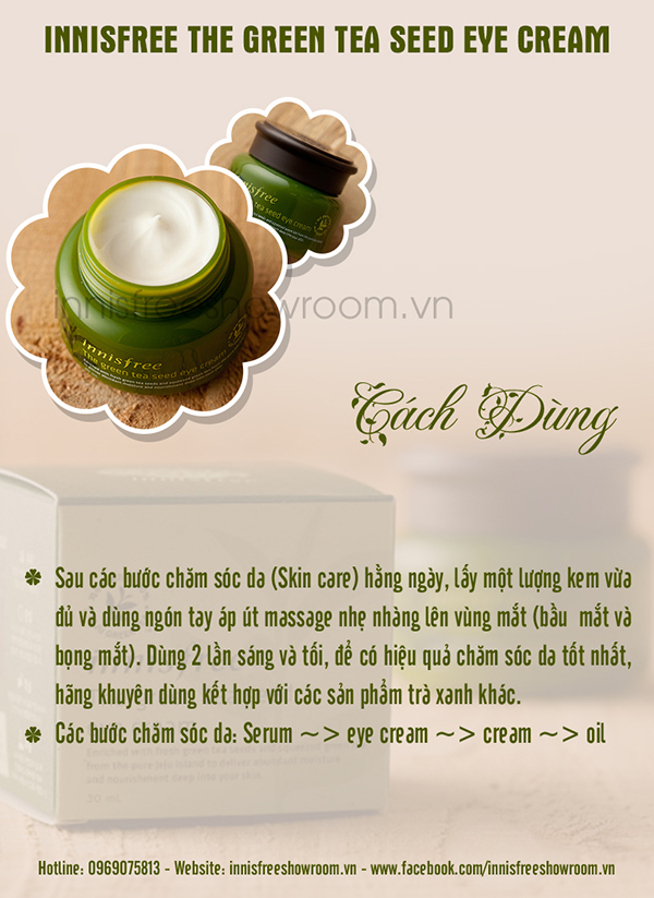 kem duong mat chiet xuat tu hat tra xanh innisfree the green tea seed eye crea