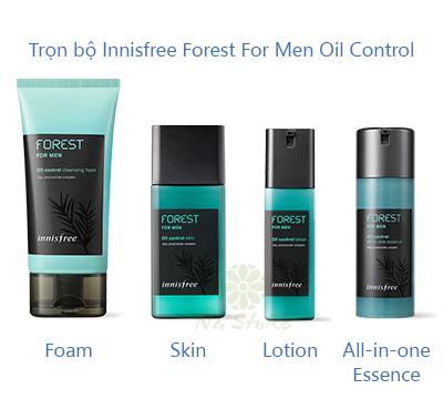 Trọn bộ sản phẩm dành cho nam Innisfree Forest For Men Oil Control