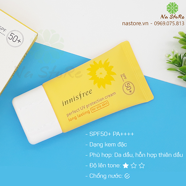 Kem chống nắng Innisfree Perfect UV Protection Cream Long Lasting (For Oily Skin)