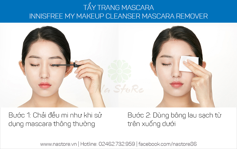 Cách sử dụng tẩy trang mascara Innisfree My Makeup Cleanser Mascara Remover