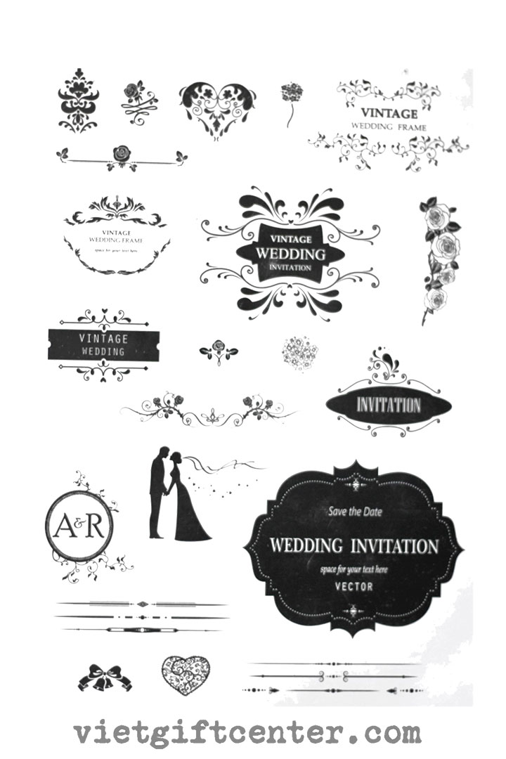 Con dấu clear stamp wedding