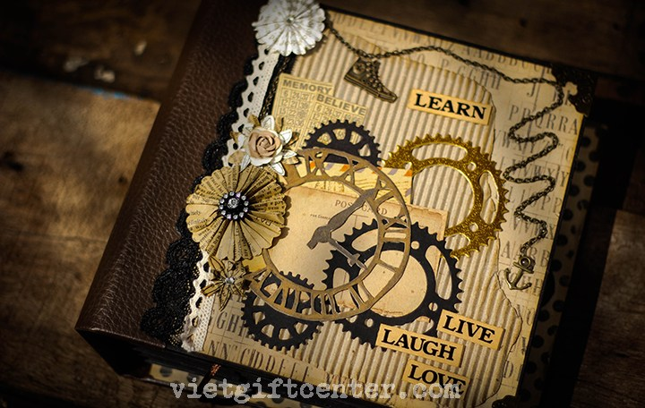 Scrapbook handmade vintage Learn Live Laugh Love cao cấp
