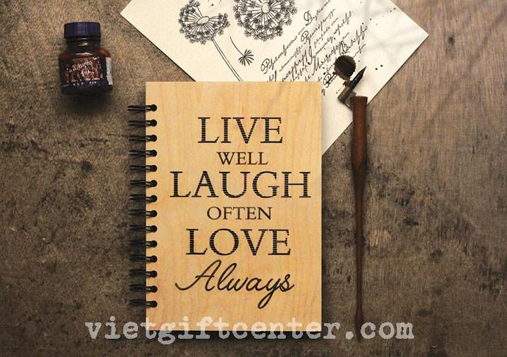"""sổ bìa gỗ khắc """"Live Laugh Love"""""""
