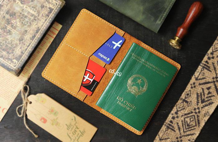 passport cover da thật 4 ngăn