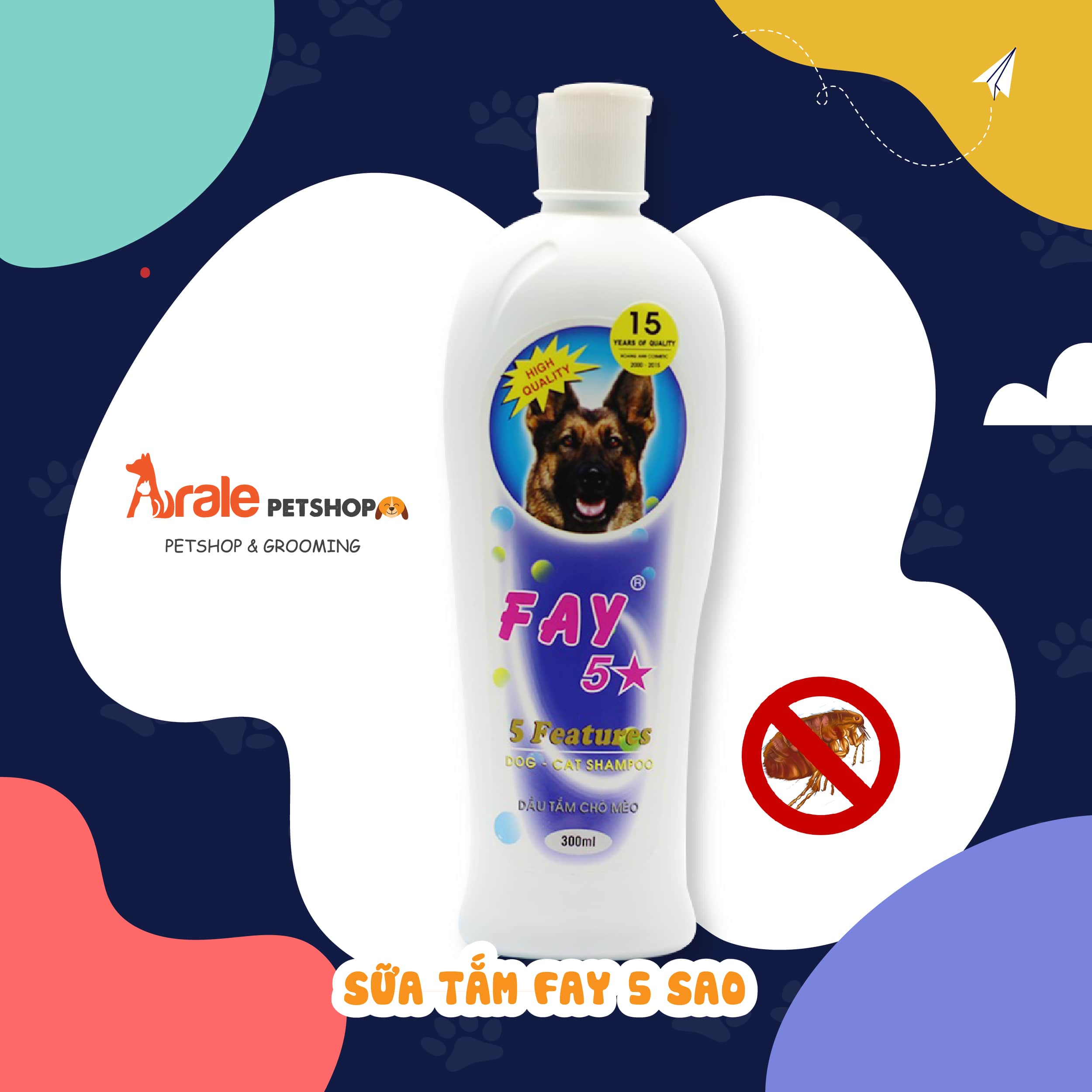 Làm sạch hết ve, rận, bọ chét, làm lông mượt và phát triển tốt hơn với Panthenol. Khử mùi hôi, duy trì độ ẩm cho da và lông.