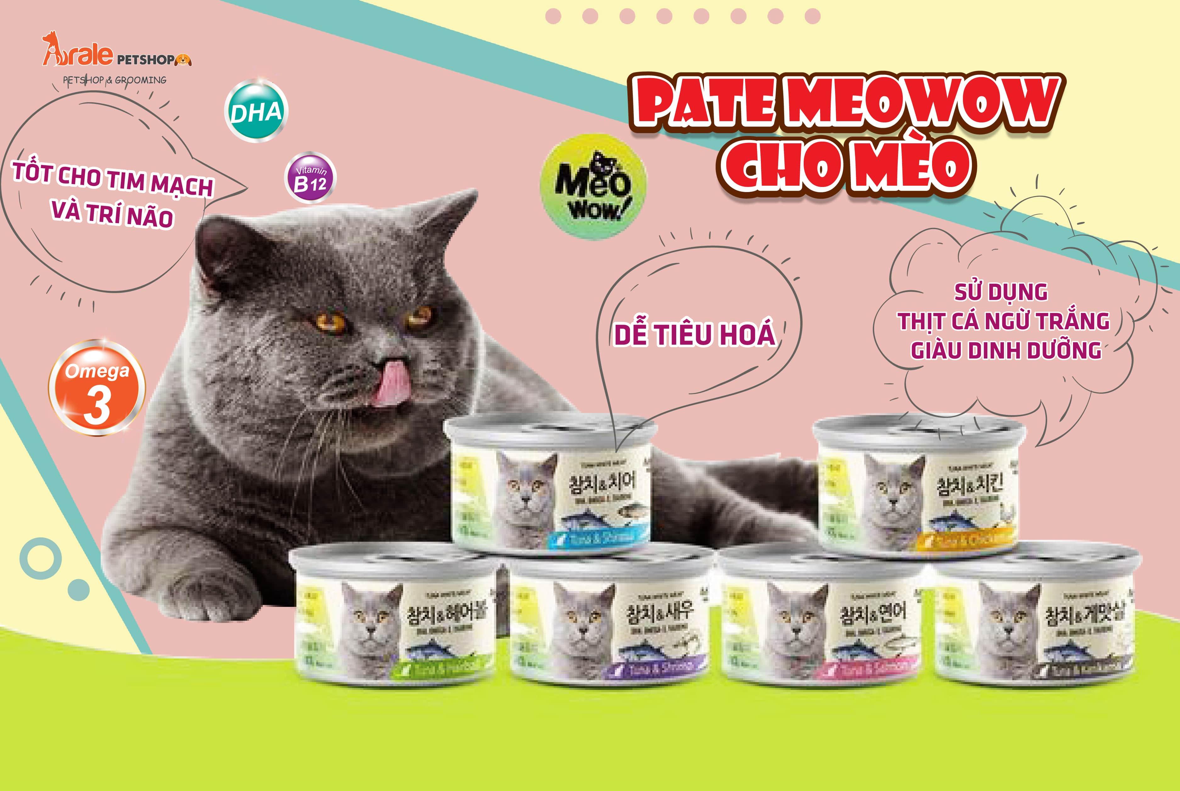 PATE MEOWOW CHO MÈO sử dụng thịtcángừtrắng đóng hộp Tuna White Meat bổ sung những vitamin và khoáng chất thiết yếu mà bữa ăn hằng ngày có thể bị thiếu hụt. Sản phẩm hỗ trợ chăm sóc lông bóng mượt, giúp sáng mắt, giảm đổ ghèn, tăng cường trí não