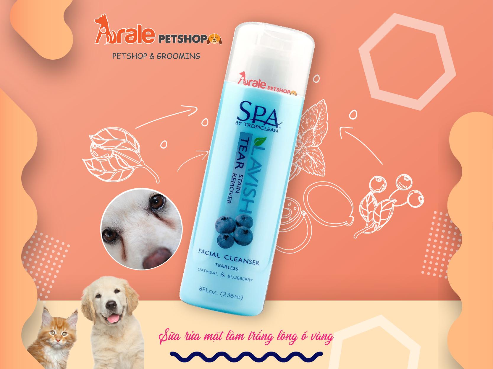sửa rửa mặt trắng lông ố vàng cho chó mèo, an toàn với mắt