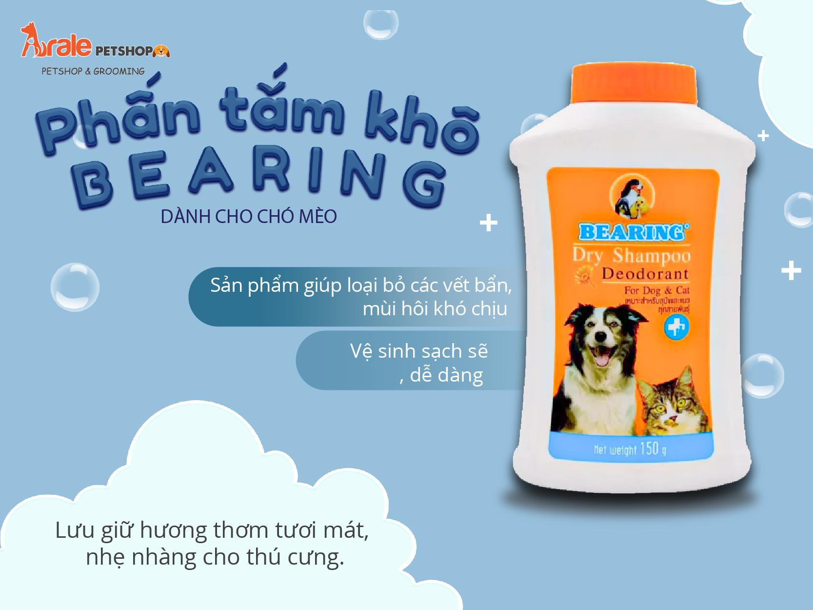 PHẤN TẮM KHÔ BEARING DRY SHAMPOO DÀNH CHO CHÓ MÈO -150GR