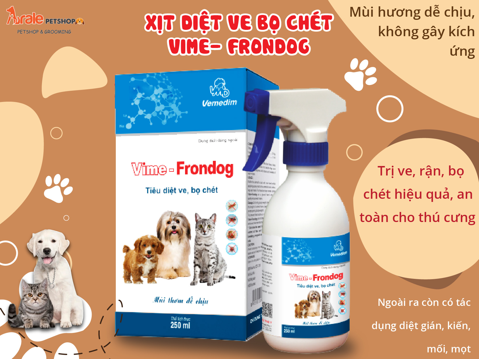 THUỐC XỊT VE BỌ CHÉT VIME- FRONDOG - 250ML
