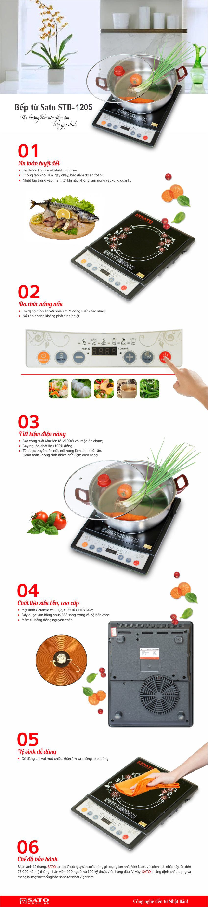 Bếp từ Sato STB-1205