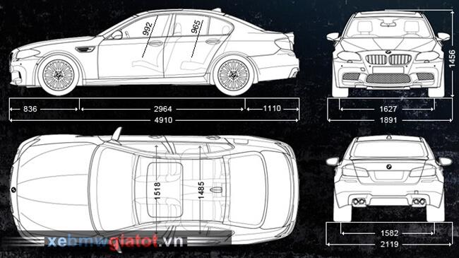 kích thước tổng thể xe BMW M5 2017 mới