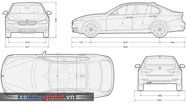 kích thước BMW 320i sedan