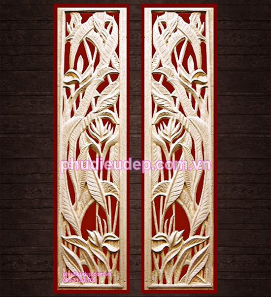 Tranh phù điêu hoa chuối chạm lộng chất liệu composite (Hoa tràng pháo) 052