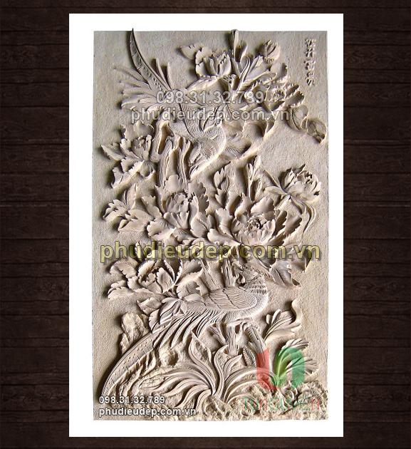 Tranh Phù Điêu Hoa Mẫu Đơn (hoa mẫu đơn và chim) 005