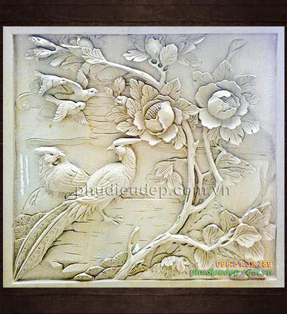 Phù Điêu Hoa Mẫu Đơn (hoa mẫu đơn và chim) 006