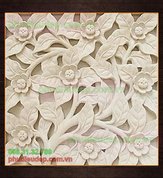 Phù điêu hoa lá composite trang trí nội, ngoại thất