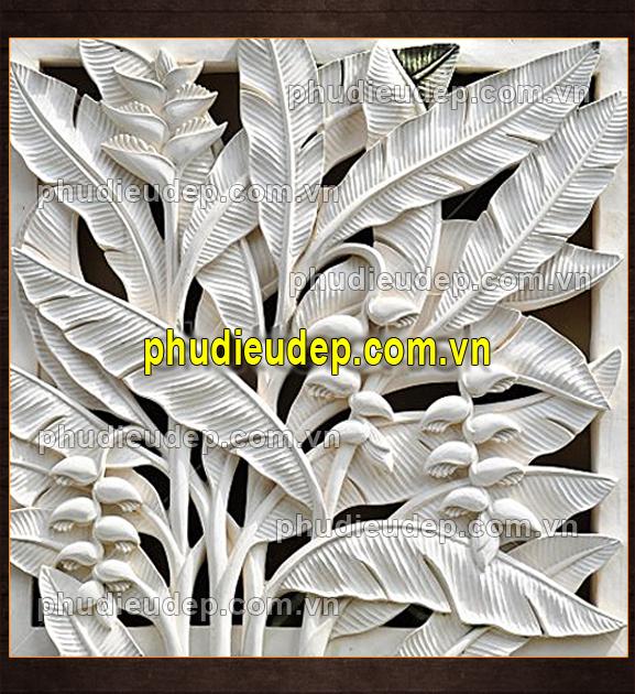 Tranh phù điêu hoa chuối composite (phù điêu hoa chuối rừng chạm lộng) 049
