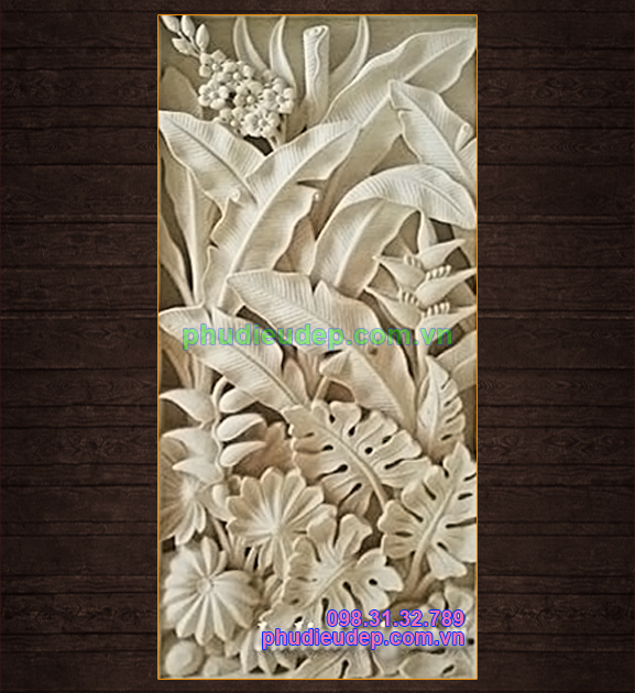 Phù điêu hoa chuối (hoa chuối và lá ráy leo) 048