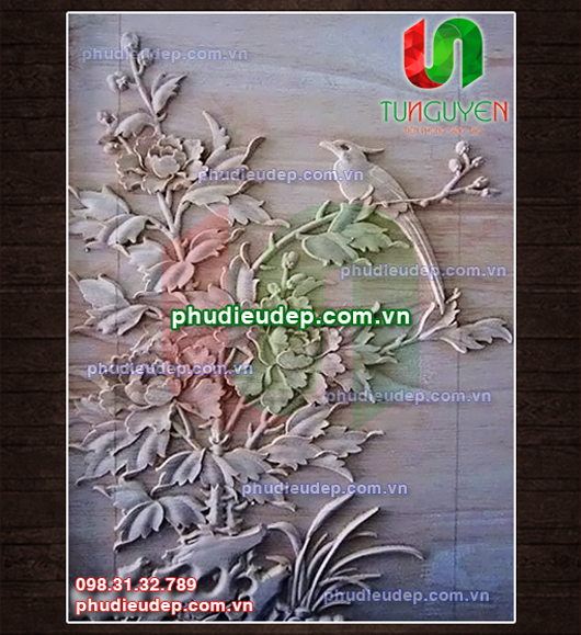 Tranh phù điêu hoa mẫu đơn và chim 008