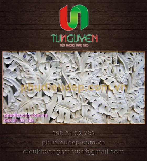 Phù điêu lá Ráy leo composite, xi măng, thạch cao | Điêu khắc TN Hà Nội