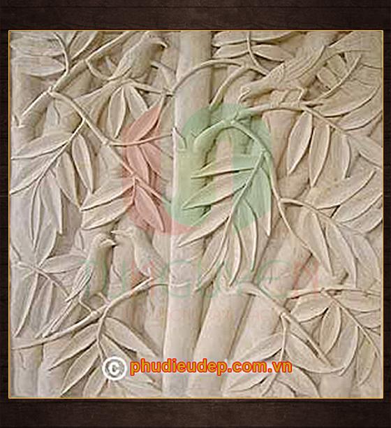 Tranh phù điêu hoa lá 017 nhựa composite, xi măng | Điêu Khắc TN Hà Nội