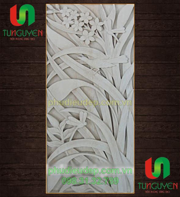 Phù điêu hoa lá 018 composite, tạch cao, xi măng | Điêu Khắc TN Hà Nội