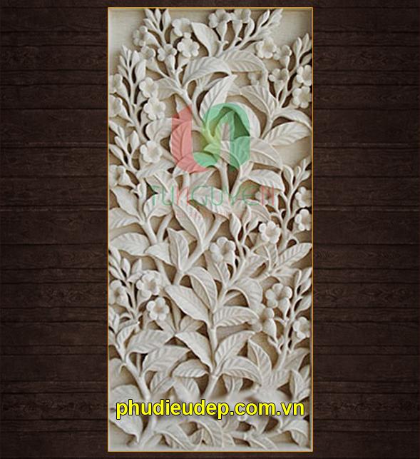 Tranh phù điêu hoa lá 022 composite 3D rẻ đẹp