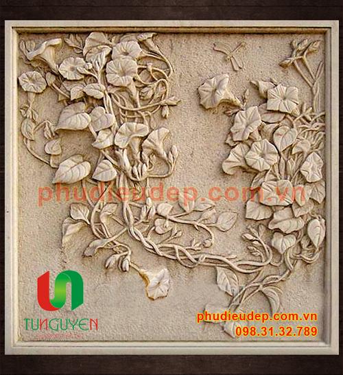 Tranh phù điêu hoa muống biển composite | Điêu Khắc TN Hà Nội