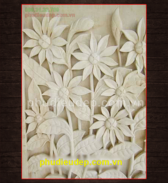 Mẫu phù điêu hoa lá 3D bằng composite. thạch cao