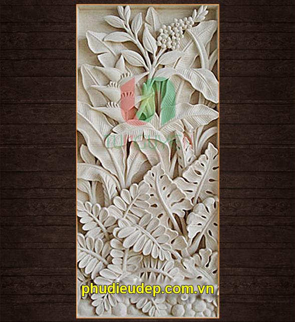 Tranh phù điêu hoa lá măng, composite | Điêu Khắc TN Hà Nội