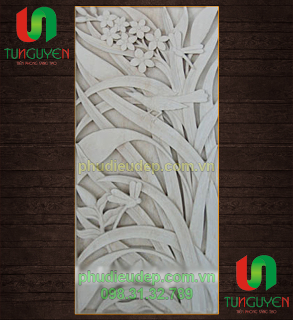 Phù điêu hoa lá chất liệu Xi măng - nhựa Composite