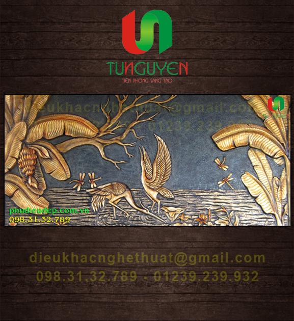 Phù Điêu Chim hạc & Chuối composite, xi măng | Điêu Khắc TN Hà Nội