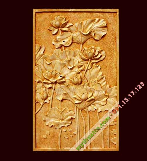 Phù điêu hoa sen đắp bằng xi măng giả đồng