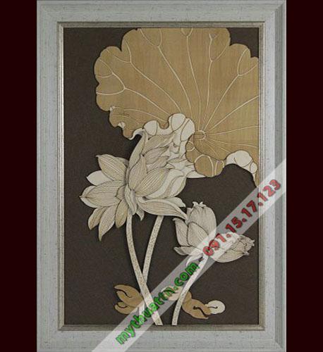 Tranh phù điêu hoa sen trang trí thẩm mỹ viện