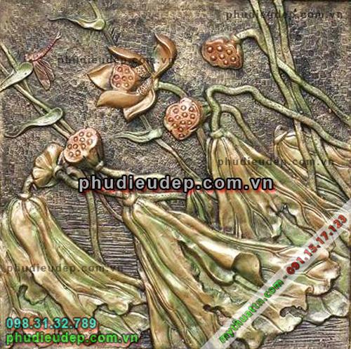 phù điêu hoa sen giả đồng ở HN