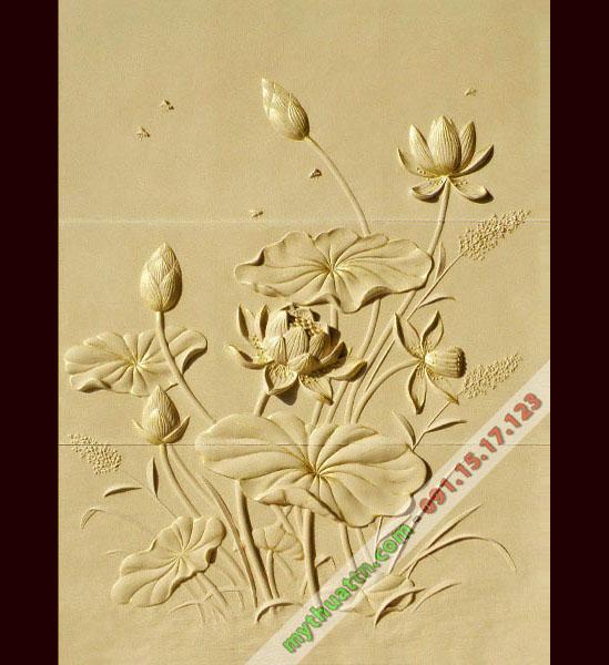Tranh phù điêu hoa sen 008