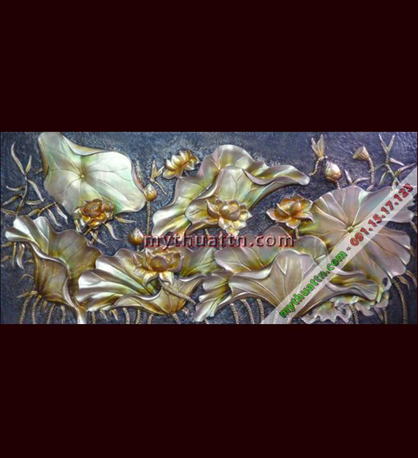 Tranh phù điêu hoa sen 006