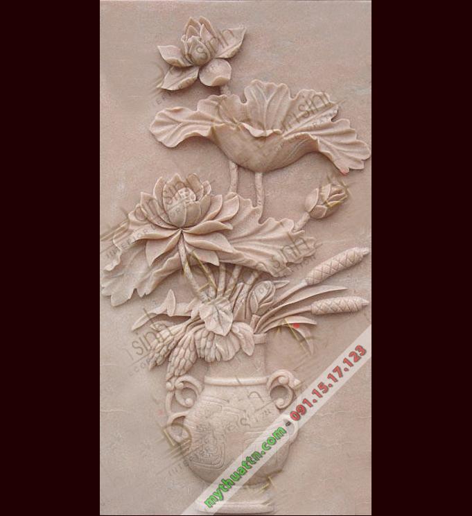 Tranh phù điêu hoa sen 019