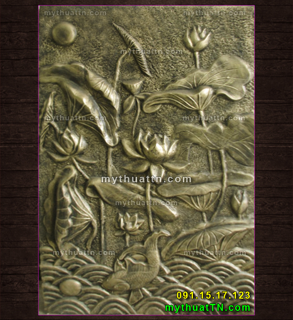 mẫu phù điêu hoa sen và cá chép giả đồng