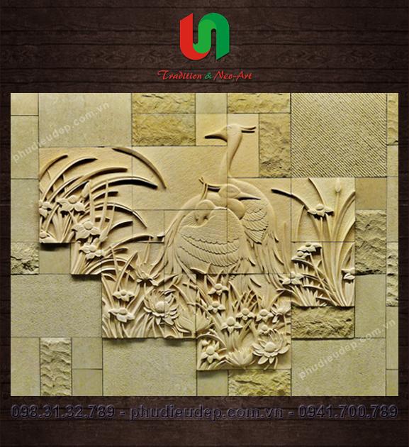 Tranh phù điêu hoa lá (Phù điêu trang trí nghệ thuật tại Hà Nội)